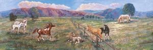 Horses with Fence in Pasture by Judy Mastrangelo