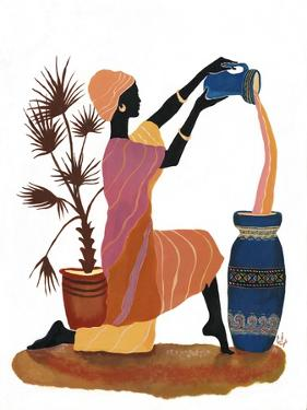 Pouring in Orange Dress by Judy Mastrangelo