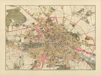 Map of Berlin, Printed by C.L. Keller, Berlin, 1890