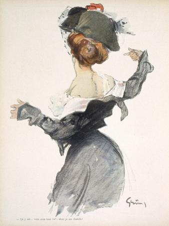 Cartoon of a Woman Performing a Hurried Striptease During the First World War by Jules-Alexandre Grün