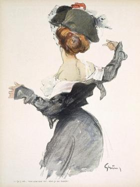 Cartoon of a Woman Performing a Hurried Striptease During the First World War by Jules-Alexandre Grün