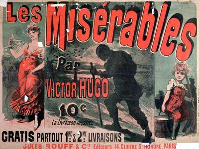"""Poster Advertising the Publication of """"Les Miserables"""" by Victor Hugo 1886"""