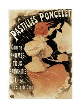 Advertising Poster for Pastilles Poncelet, a Cold and Bronchitis Remedy, 1896 by Jules Chéret