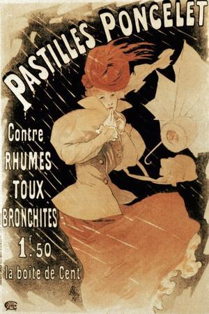 Advertising Poster for Pastilles Poncelet, a Cold and Bronchitis Remedy, 1896