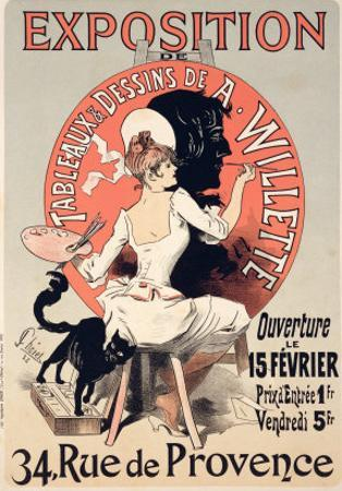 Reproduction of a Poster Advertising an Exhibition of the Paintings and Drawings of A. Willette by Jules Chéret
