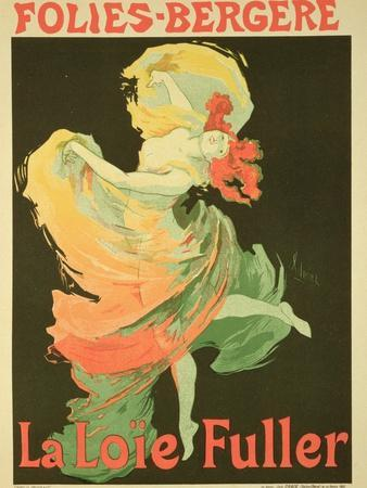 """Reproduction of a Poster Advertising """"Loie Fuller"""" at the Folies-Bergere, 1893"""