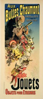"""Reproduction of a Poster Advertising """"New Year Gifts at the Buttes Chaumont"""" by Jules Chéret"""