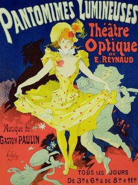 """Reproduction of a Poster Advertising """"Pantomimes Lumineuses"""" at the Musee Grevin, 1892 by Jules Chéret"""