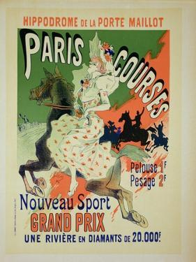 """Reproduction of a Poster Advertising """"Paris Courses"""" by Jules Chéret"""