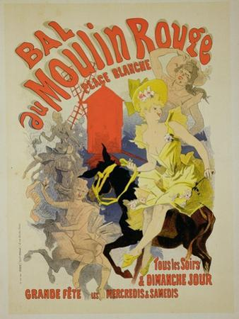 "Reproduction of a Poster Advertising the ""Bal Au Moulin Rouge,"" 1889 by Jules Chéret"