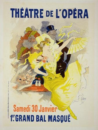 """Reproduction of a Poster Advertising the First """"Grand Bal Masque,"""" Theatre De L'Opera, Paris, 1896"""