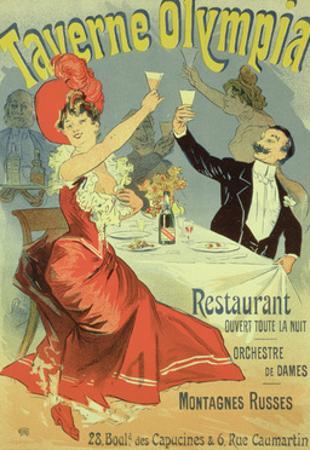 "Reproduction of a Poster Advertising the ""Taverne Olympia,"" Paris, 1899 by Jules Chéret"