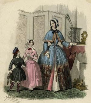 Mother and Two Children in the Latest French Fashions by Jules David