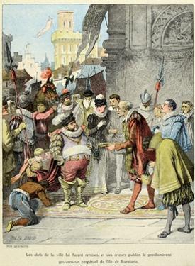 Sancho Panza Becomes Governor of the City of Barataria. 'Story of Don Quixote,' by Jules David. by Jules David