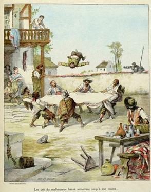 Sancho Panza Mauled at the Tavern. 'Story of Don Quixote,' Illus. by Jules David. by Jules David