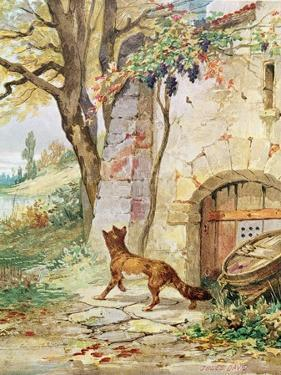 The Fox and the Grapes, Illustration For Fables by Jean de La Fontaine by Jules David