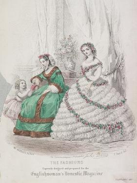 Two Women and a Child Wearing the Latest Fashions, 1861 by Jules David