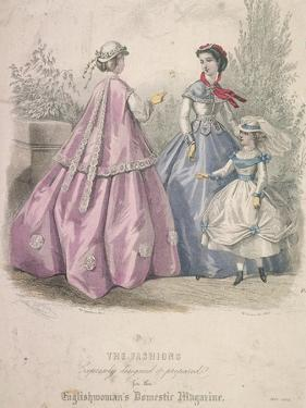 Two Women and a Child Wearing the Latest Fashions, 1866 by Jules David