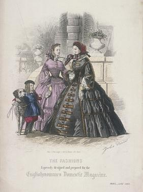 Two Women and a Child with a Dog Wearing the Latest Fashions, 1860 by Jules David