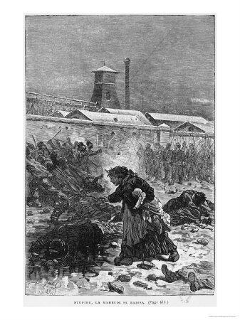 Stupide, La Maheude Se Baissa, Illustration from Germinal by Emile Zola