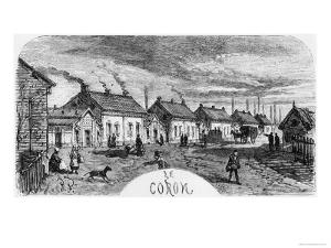 The Mining Village, Illustration from Germinal by Emile Zola by Jules Ferat