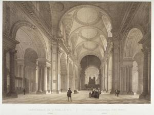 Nave of St Paul's Cathedral, Looking East Towards the Choir, City of London, 1850 by Jules Louis Arnout