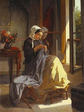 A Woman Sewing by an Open Window by Jules Trayer