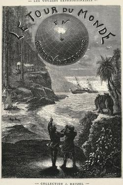 Around World in 80 Days, Title Page for 1873 Edition of Novel by Jules Verne