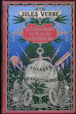 """Jules Verne, Cover of """"Around the World in 80 Days"""" and """"Doctor Ox"""" by Jules Verne"""