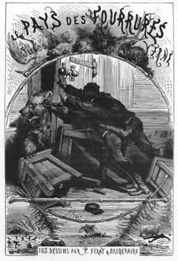 """Jules Verne, Frontispiece of """"The Fur Country"""" by Jules Verne"""