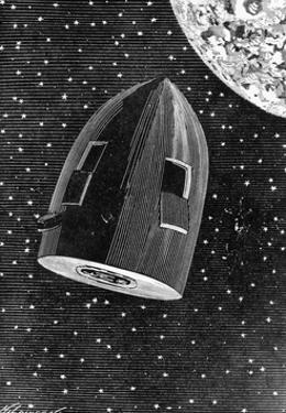 Rocket Capsule Illustration from the 1872 Edition of from the Earth to the Moon by Jules Verne