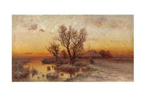 Sunset over a Ukrainian Hamlet, 1915 by Juli Julievich Klever