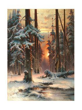 Winter Sunset in the Fir Forest, 1889 by Juli Julievich Klever