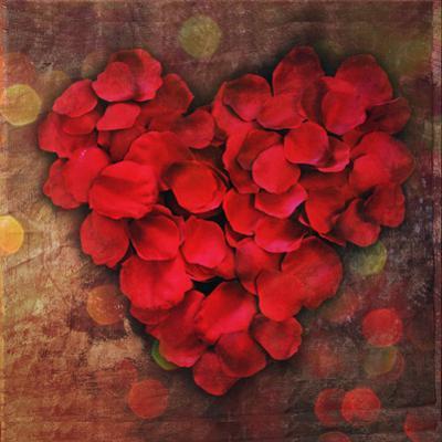 Rose Petals Forming Heart Shape Symbol by Julia Davila-Lampe
