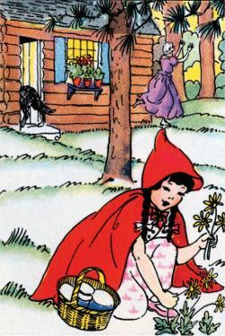 Little Red Riding Hood Picks Flowers by Julia Letheld Hahn