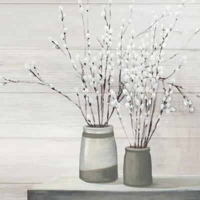 Pussy Willow Still Life Gray Pots Shiplap by Julia Purinton