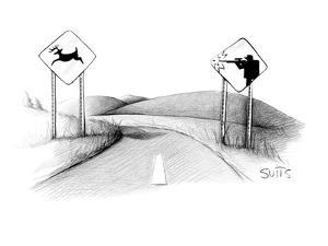 A sign of a deer crossing is running away from a sign of a hunter shooting? - New Yorker Cartoon by Julia Suits