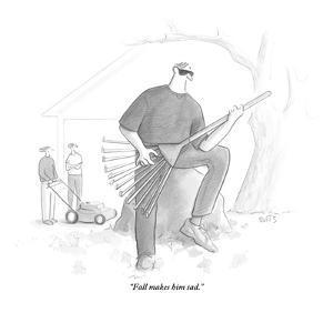 """Fall makes him sad."" - New Yorker Cartoon by Julia Suits"