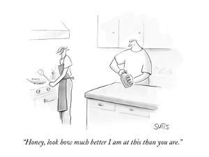 """""""Honey, look how much better I am at this than you are."""" - New Yorker Cartoon by Julia Suits"""