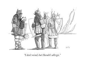 """""""I don't mind, but Harald's allergic."""" - New Yorker Cartoon by Julia Suits"""