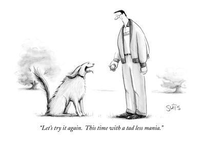 """""""Let's try it again.  This time with a tad less mania."""" - New Yorker Cartoon"""