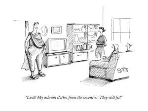 """""""Look! My ashram clothes from the seventies. They still fit!"""" - New Yorker Cartoon by Julia Suits"""