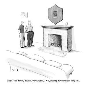 """New York 'Times,' Saturday crossword, 1999, twenty-two minutes, ballpoint - New Yorker Cartoon by Julia Suits"