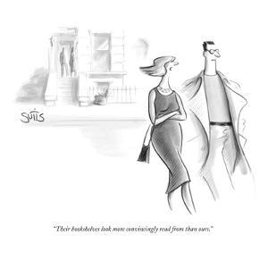 """""""Their bookshelves look more convincingly read from than ours."""" - New Yorker Cartoon by Julia Suits"""