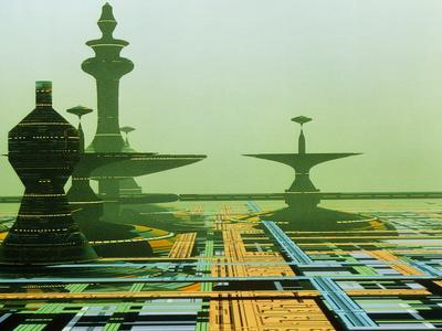 Artwork of An Alien City on a Circuit Board