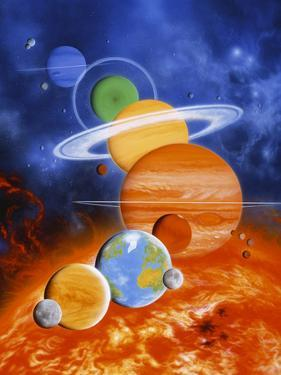 Artwork of Sun And Planets of Solar System by Julian Baum