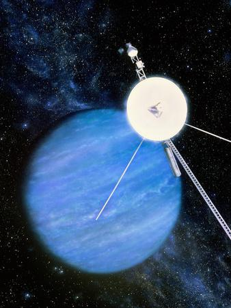 Artwork of Voyager 2 Approaching Neptune