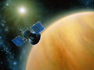 Artwork Showing Magellan Spacecraft Orbiting Venus by Julian Baum