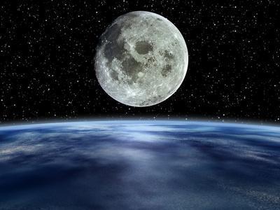 Computer Artwork of Full Moon Over Earth's Limb