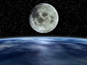 Computer Artwork of Full Moon Over Earth's Limb by Julian Baum